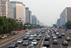 Rush hour traffic jam in Beijing, China Stock Photo