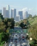 Rush Hour Traffic, Los Angeles, CA w/skyline royalty free stock photo
