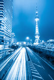 Rush hour traffic at night in shanghai Stock Photography