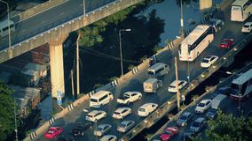 Rush Hour Traffic Over Water At Sunset stock video footage