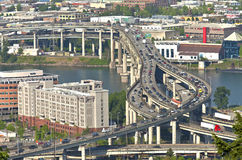 Rush hour traffic Portland OR. Rush hour traffic on the freeways in Portland Oregon Royalty Free Stock Images
