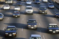 Rush hour traffic on the San Diego 405 Freeway in Los Angeles, California Royalty Free Stock Photo