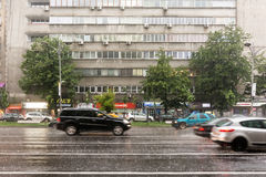 Rush Hour Traffic During Summer Storm Stock Images