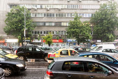 Rush Hour Traffic During Summer Storm Royalty Free Stock Photos