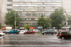 Rush Hour Traffic During Summer Storm Stock Photo