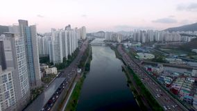 Rush Hour of Traffic of Suyeong River, Busan, South Korea. Rush Hour of Traffic of Suyeong River, Busan, South Korea, Asia stock video footage