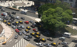 Rush hour traffic, taxis, aerial view royalty free stock image