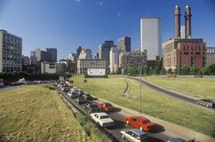 Rush hour traffic traveling through Bean Town in Boston, Massachusetts Stock Image