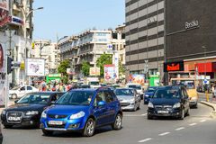 Rush Hour Traffic In Union Square Piata Unirii In Bucharest Royalty Free Stock Images