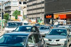 Rush Hour Traffic In Union Square Piata Unirii In Bucharest Royalty Free Stock Photos