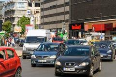 Rush Hour Traffic In Union Square Piata Unirii In Bucharest Stock Image