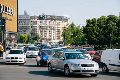 Rush Hour Traffic In Union Square Piata Unirii In Bucharest Royalty Free Stock Photo