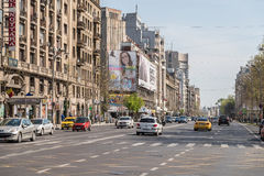 Rush Hour Traffic In University Square Of Bucharest Royalty Free Stock Photos