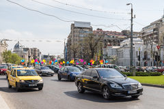 Rush Hour Traffic In University Square Of Bucharest Royalty Free Stock Image