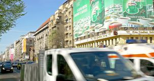Rush Hour Traffic In University Square Downtown Of Bucharest City. BUCHAREST, ROMANIA - APRIL 05, 2015: Rush Hour Traffic In University Square Downtown Of stock video