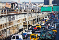 Rush Hour Traffic on Williamsburg Bridge in New York City Stock Images