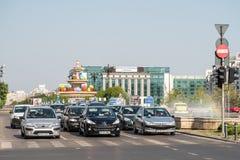 Rush Hour In Union Square (Piata Unirii) Of Bucharest Stock Photography