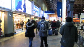 Rush Hour at Union Station. Video of interior of union station in washington dc on 12/18/13 with people coming and going stock video footage