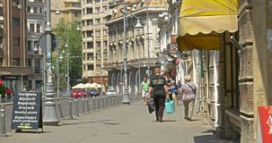 Rush Hour On Victory Avenue (Calea Victoriei) Downtown Of Bucharest City stock video footage