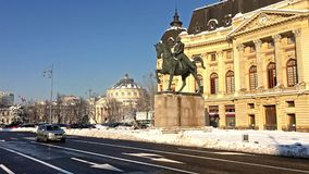 Rush Hour On Victory Avenue (Calea Victoriei) Downtown Of Bucharest City In Winter stock video