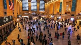 Rush hours in Grand Central station, opened in 1871. stock video