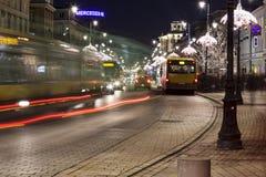 Rush hours at Krakowskie Przedmiescie Street Royalty Free Stock Photography