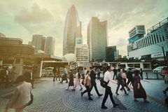 Rush hours in Tokyo royalty free stock photography