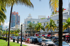 Rush hours traffic along ocean dr. street in south Miami Royalty Free Stock Photography