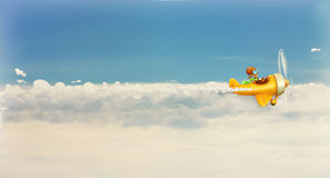 Rush after own dream. Funny cartoon aviator in the sky, vector illustration Stock Images