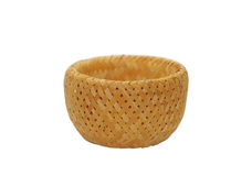 Rush and rattan straw basket isolated Royalty Free Stock Photography