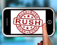 Rush On Smartphone Showing Speed. And Urgency Royalty Free Stock Images