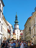 Rush time in Old Town Quarter in Bratislava, Slovakia royalty free stock image