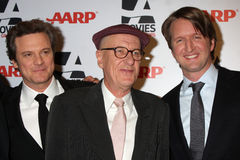 "Rush,Tom Hooper,Geoffrey Rush,Colin Firth. LOS ANGELES - FEB 7:  Colin Firth, Geoffrey Rush, Tom Hooper arrives at the 2011 AARP ""Movies for Grownups"" Gala  at Stock Photo"