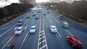 Rush traffic. Speed evening traffic, motion blur Stock Photography