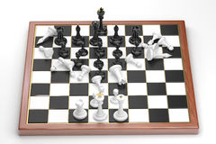 Rush of the black chess figures. Fast attack of black figures. White sustain losses Stock Images