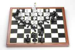 Rush of the white chess figures Royalty Free Stock Photos