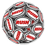 Rush Word Speech Bubbles Ball Fast Action Urgency Deadline. Rush word in speech bubbles to illustrate an urgent need to act fast to beat a deadline or race to Royalty Free Stock Image