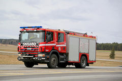 Rushed Scania Fire Engine on Highway Stock Photography