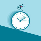 Rushed. Vector illustration of a businessman running nonstop on a clock wheel gliding downhill Stock Image
