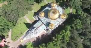 Rushian-Kirche dron Gesamtlänge stock video footage