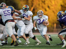 Rushing Attack. NORCAL Lions Club All Star Football Team action in Oroville, California Royalty Free Stock Images