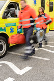 Rushing blurry paramedic unit portable devices truck Stock Photography