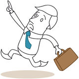 Rushing cartoon businessman with panicky look Royalty Free Stock Photos