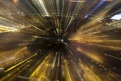 Rushing city, blur light through city at night Stock Photos