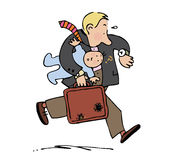 Rushing dad. Running man holding baby and brief case Royalty Free Stock Image