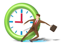 Rushing executive skid and reach on time Royalty Free Stock Photography