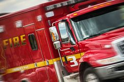 Fire Department Emergency. Rushing Fire Department Emergency Vehicle. Accident Rescue Call stock image