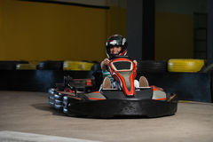 Rushing Kart And Safety Barriers Karting Race Royalty Free Stock Photos