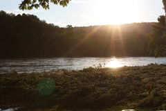Rushing river. Delaware River - Flood Stage September Royalty Free Stock Image