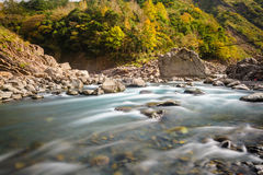 Rushing river in a mountain forest Royalty Free Stock Photo